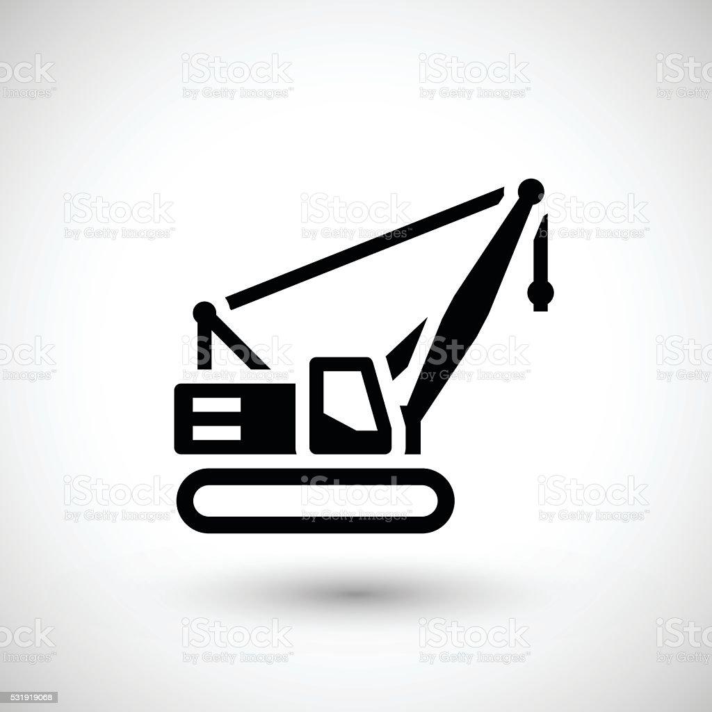 Crawler crane icon vector art illustration