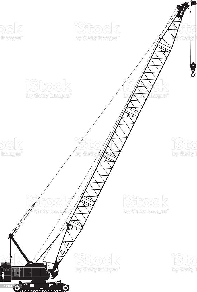 crawler crane side view vector art illustration