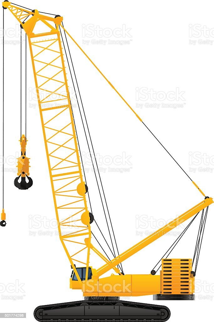 crawler crane vector art illustration