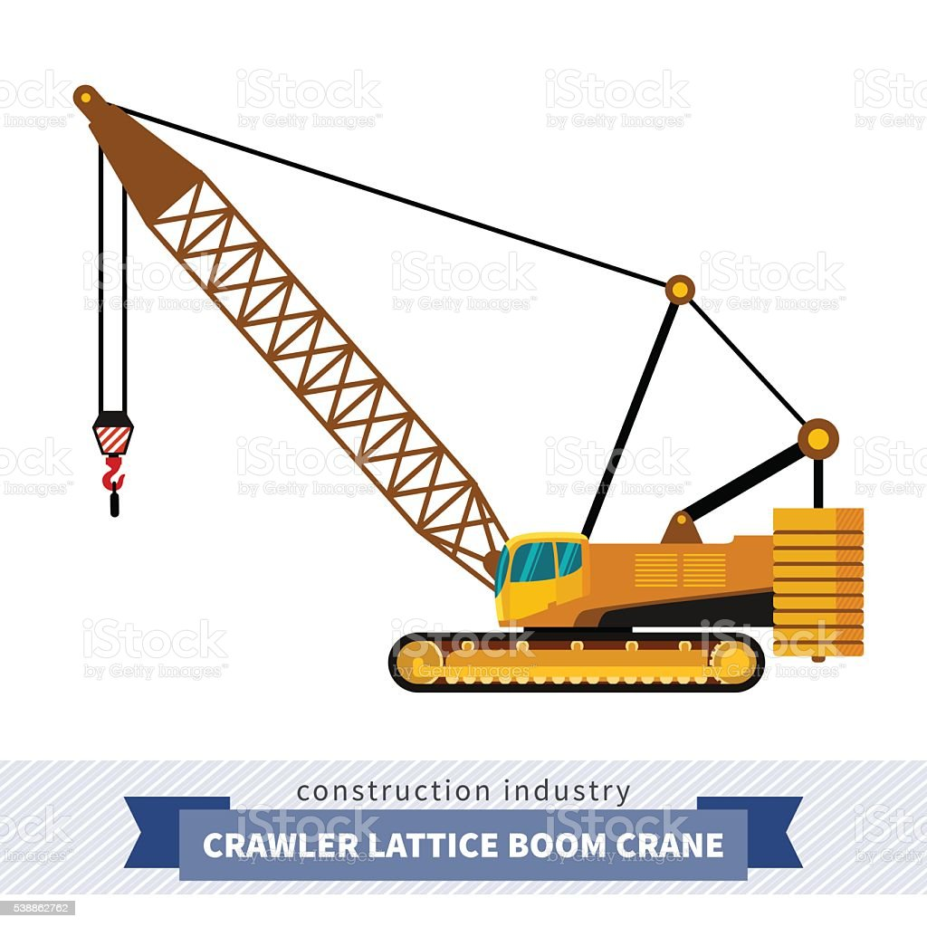 Crawler lattice boom crane vector art illustration