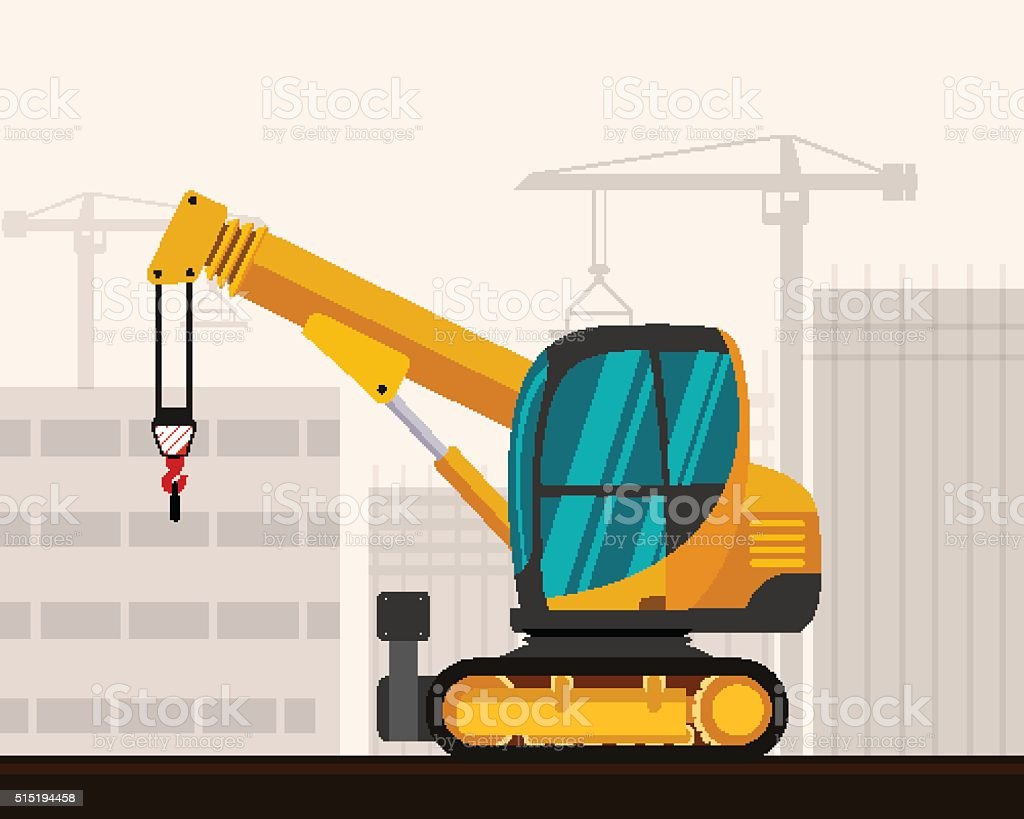Crawler telescopic boom mini crane vector art illustration
