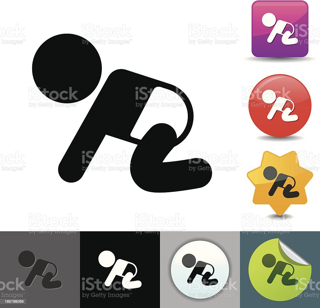 Crawling baby icon   solicosi series royalty-free stock vector art