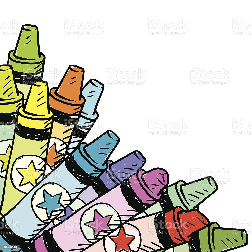 Crayon corner background sketch vector art illustration