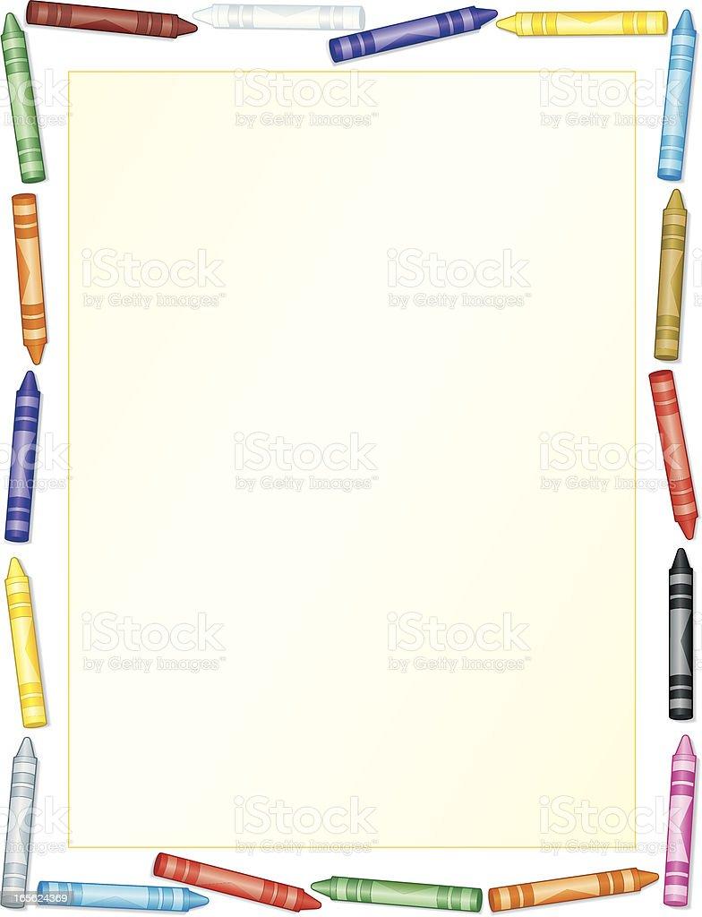 Crayon Frame Background - Education Writing vector art illustration