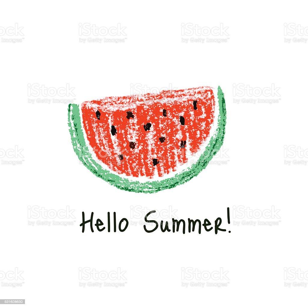 Crayon kids drawn watermelon slice vector art illustration