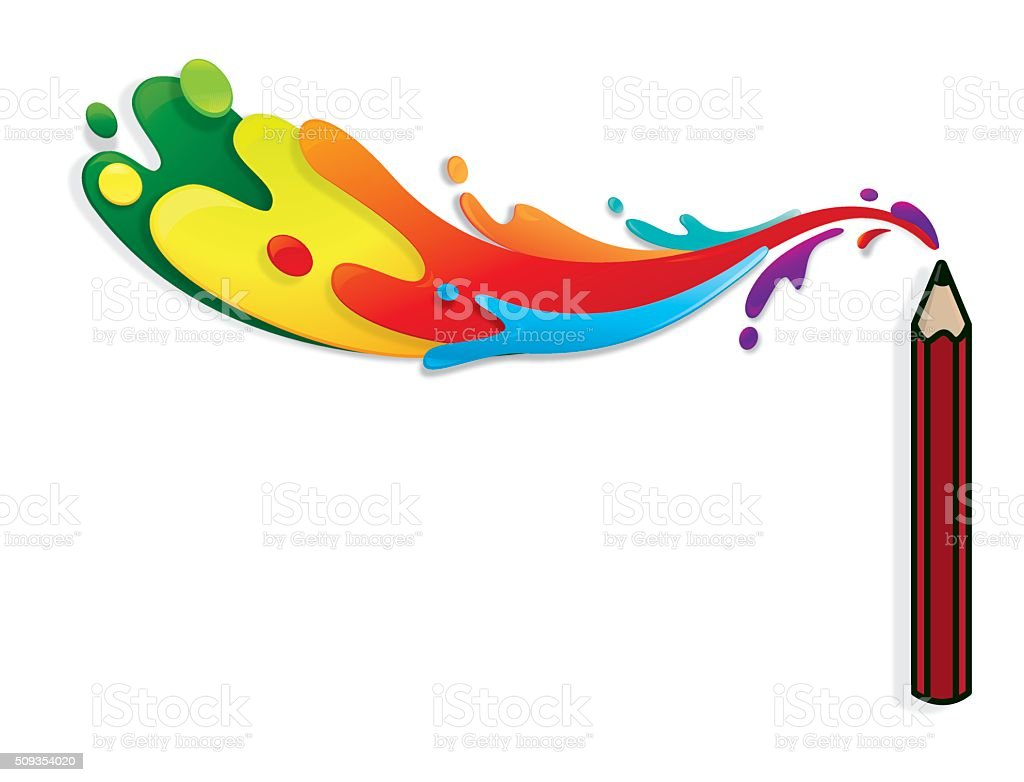 Crayon with colourful splatters vector art illustration
