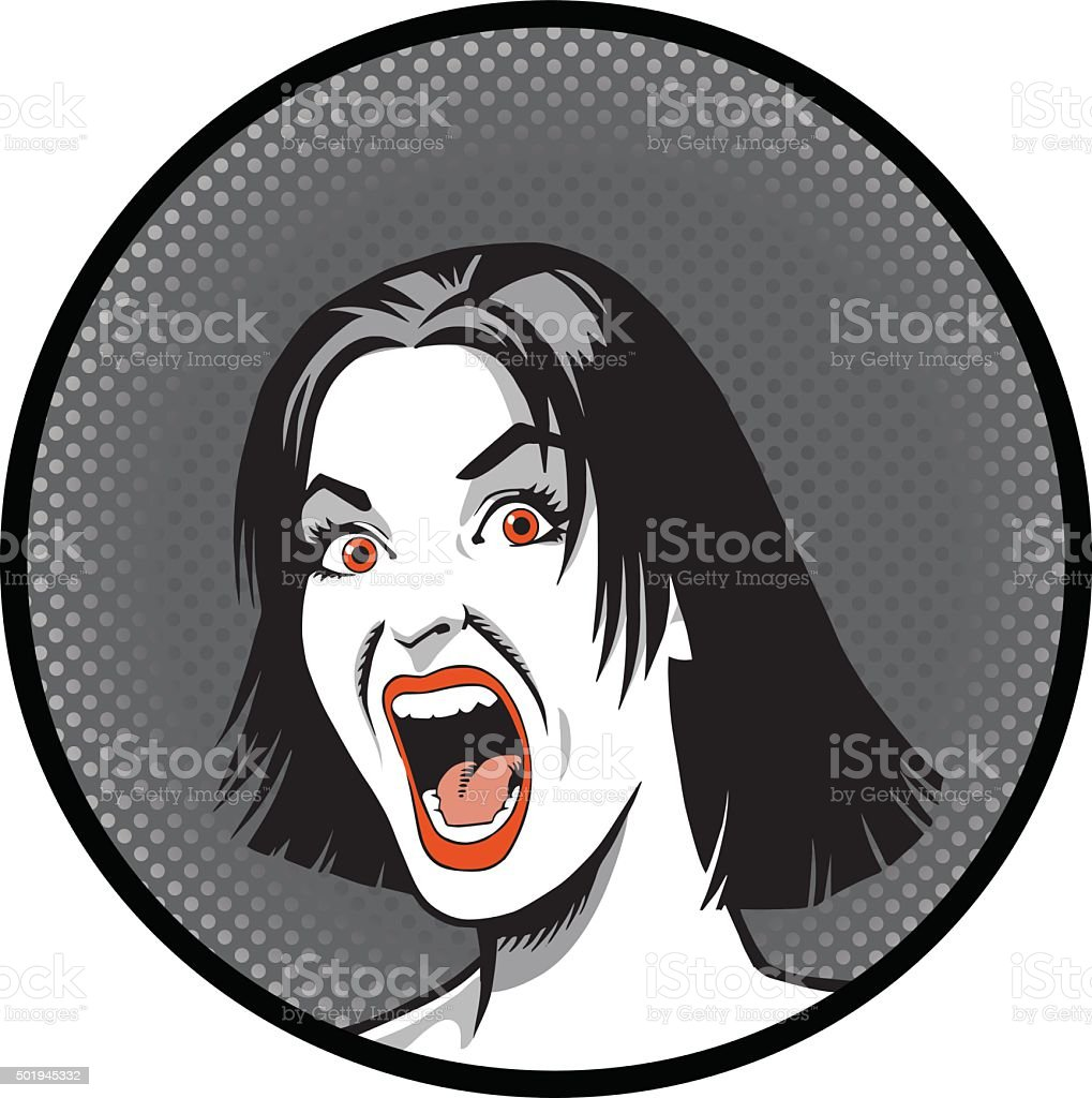 Crazed Woman Close Up vector art illustration