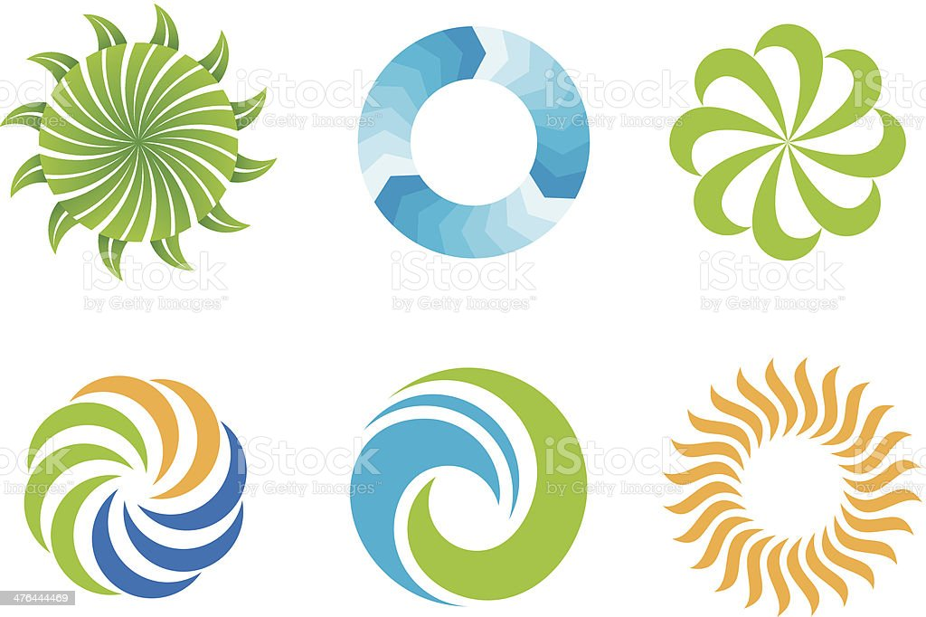 Crazy beautifl green nature circles logo design symbol vector art illustration