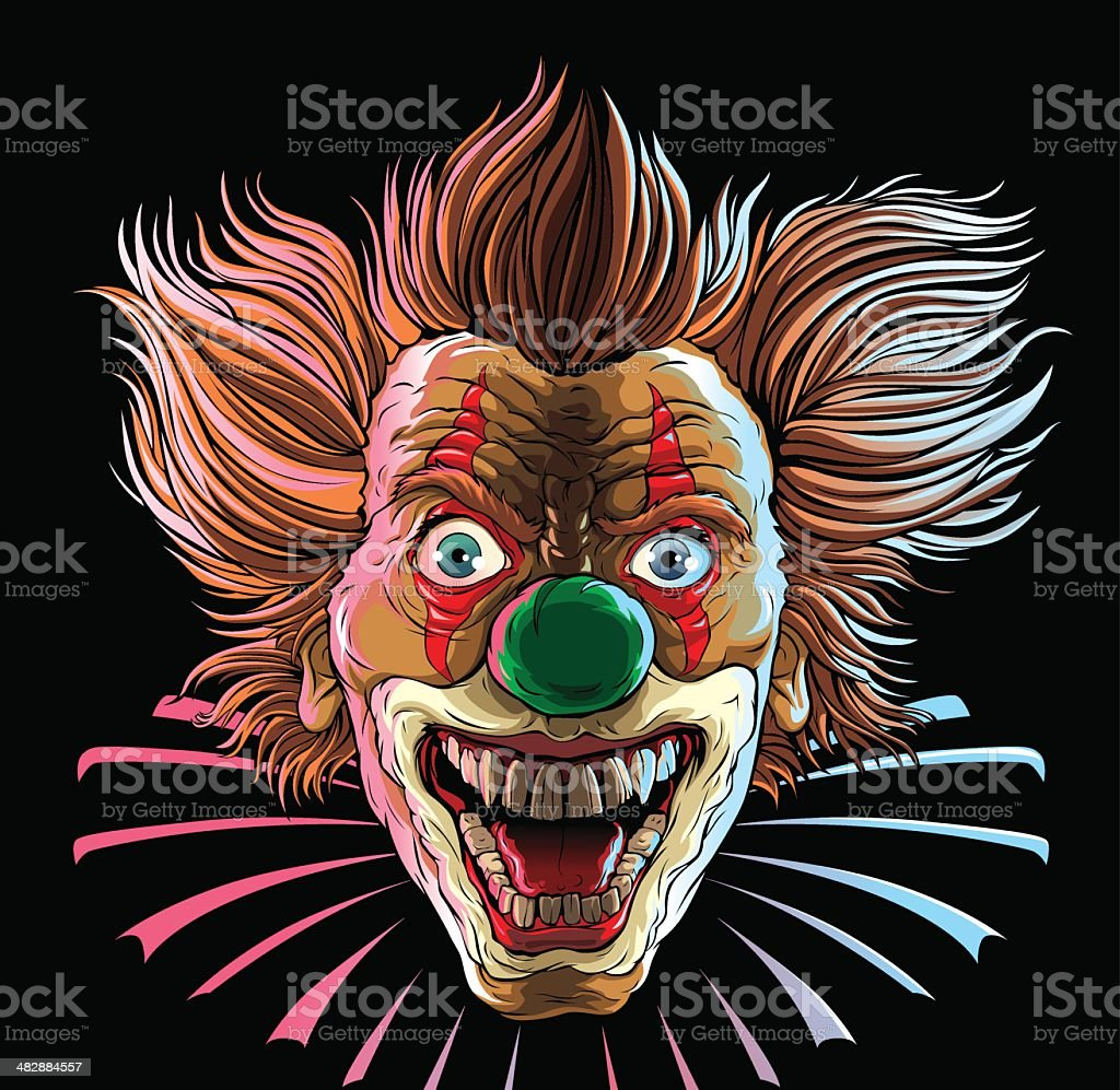 Crazy Clown Head vector art illustration