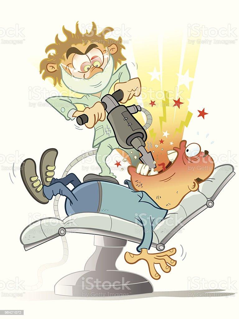 Crazy dentist vector art illustration