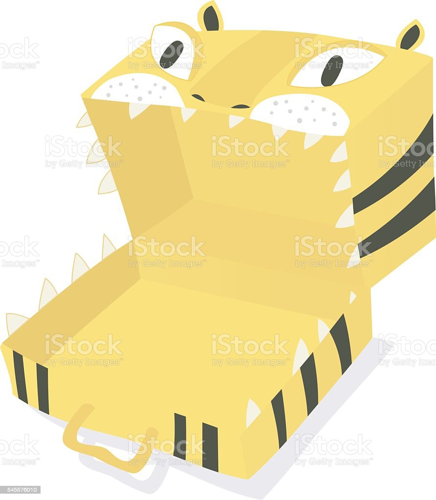 crazy empty  tiger-suitcase vector art illustration