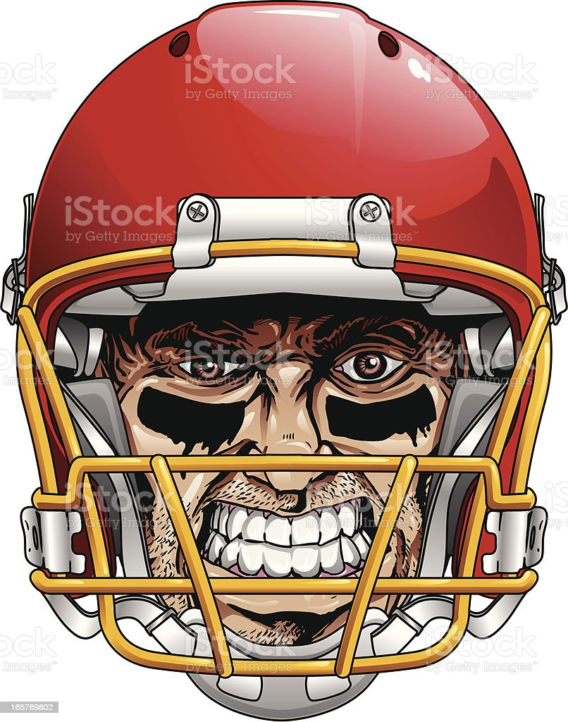 Crazy Face Football Head royalty-free stock vector art