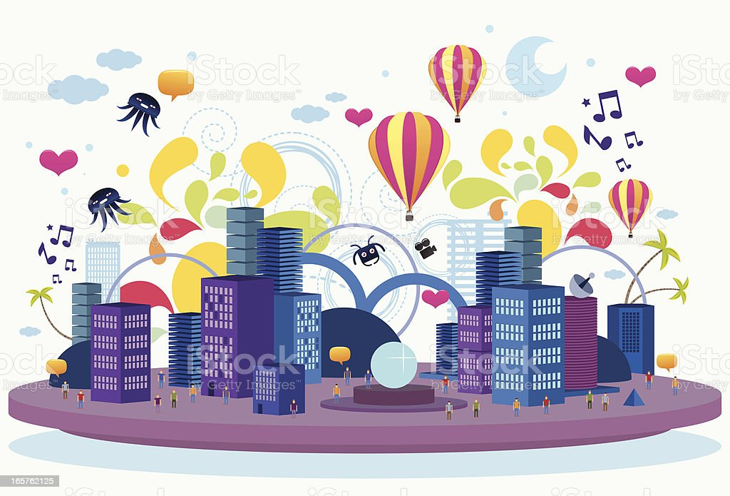Crazy flat city vector art illustration