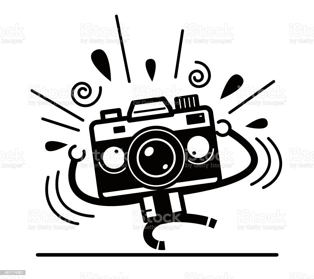 Crazy Full length unique Camera Character screaming for help vector art illustration