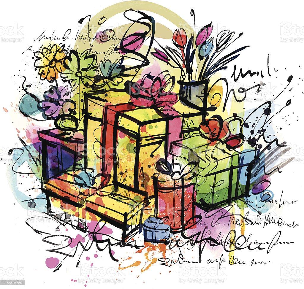 Crazy Gifts vector art illustration