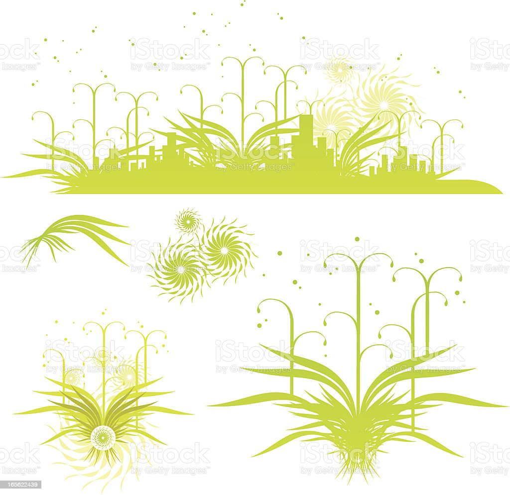 crazy green city profile royalty-free stock vector art