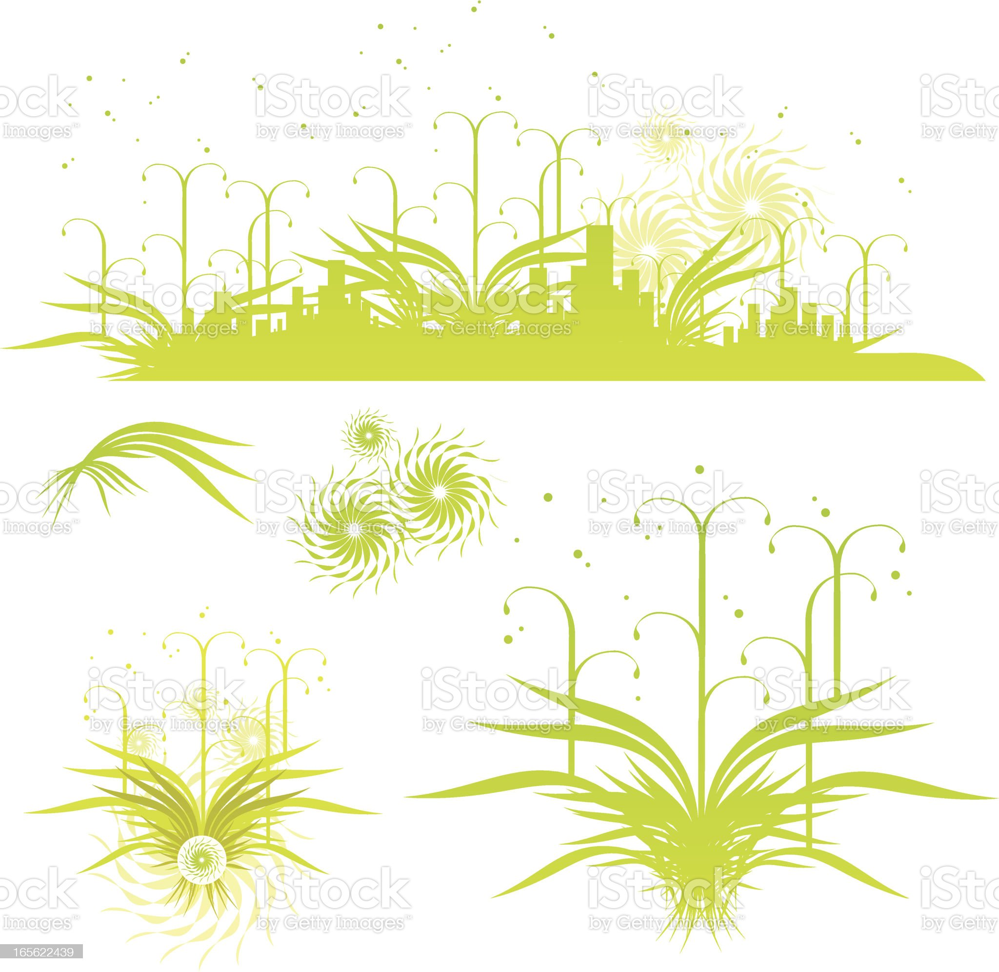 crazy green city profile royalty-free stock vector art