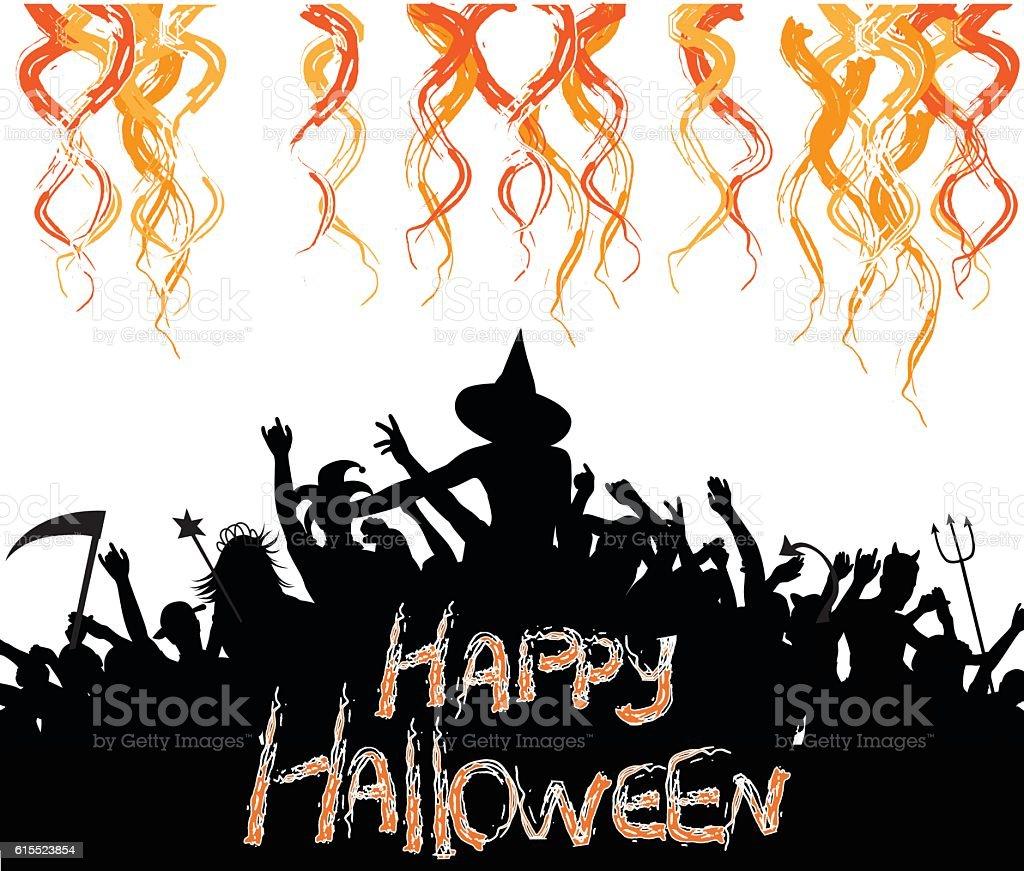 Crazy Halloween Crowd Party vector art illustration