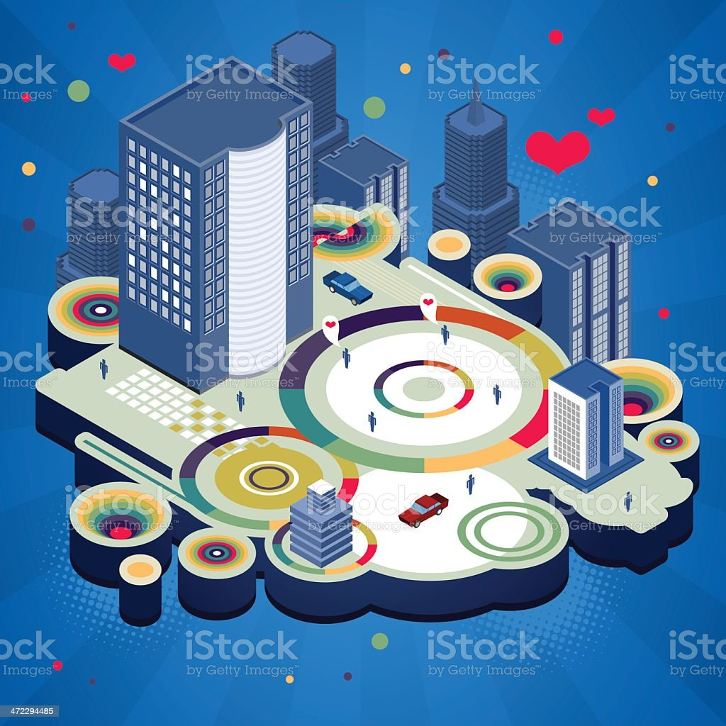 Crazy isometric abstract city royalty-free stock vector art