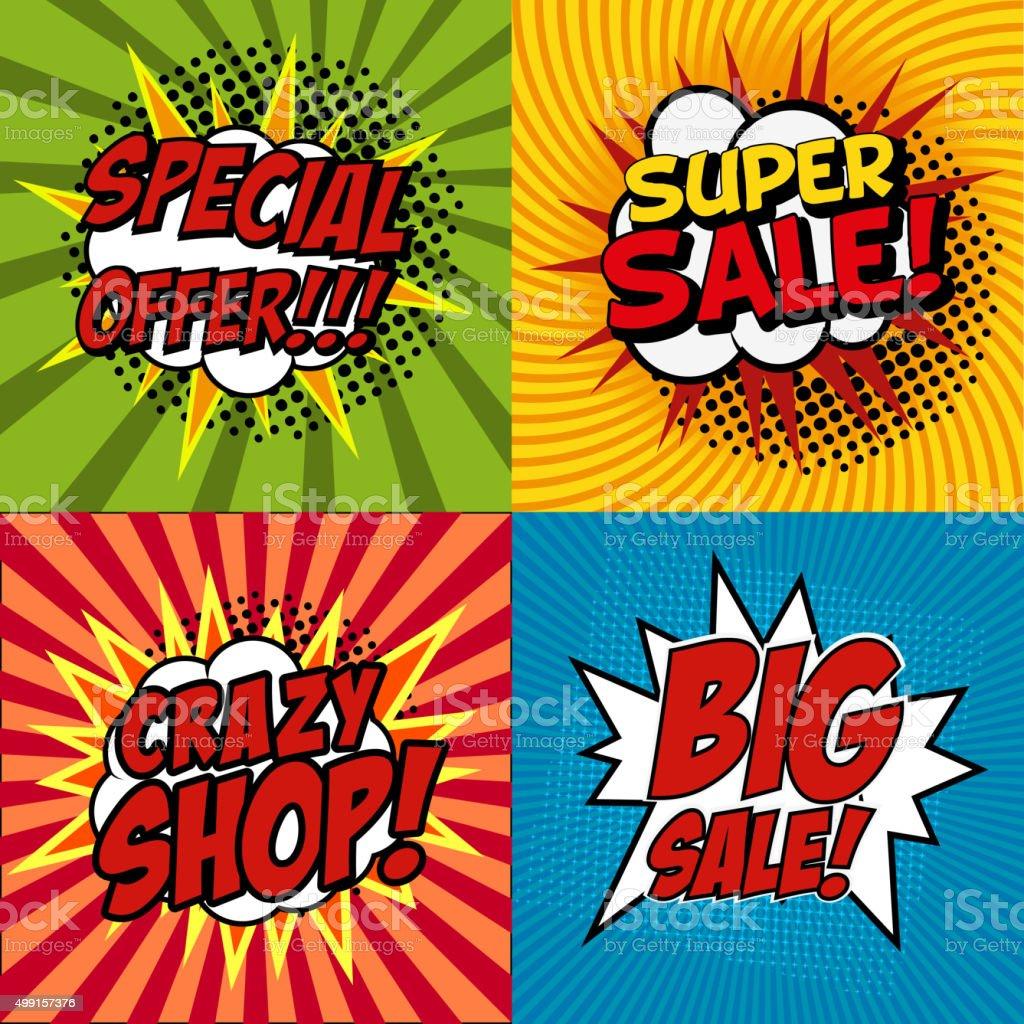 crazy shop poster vector art illustration