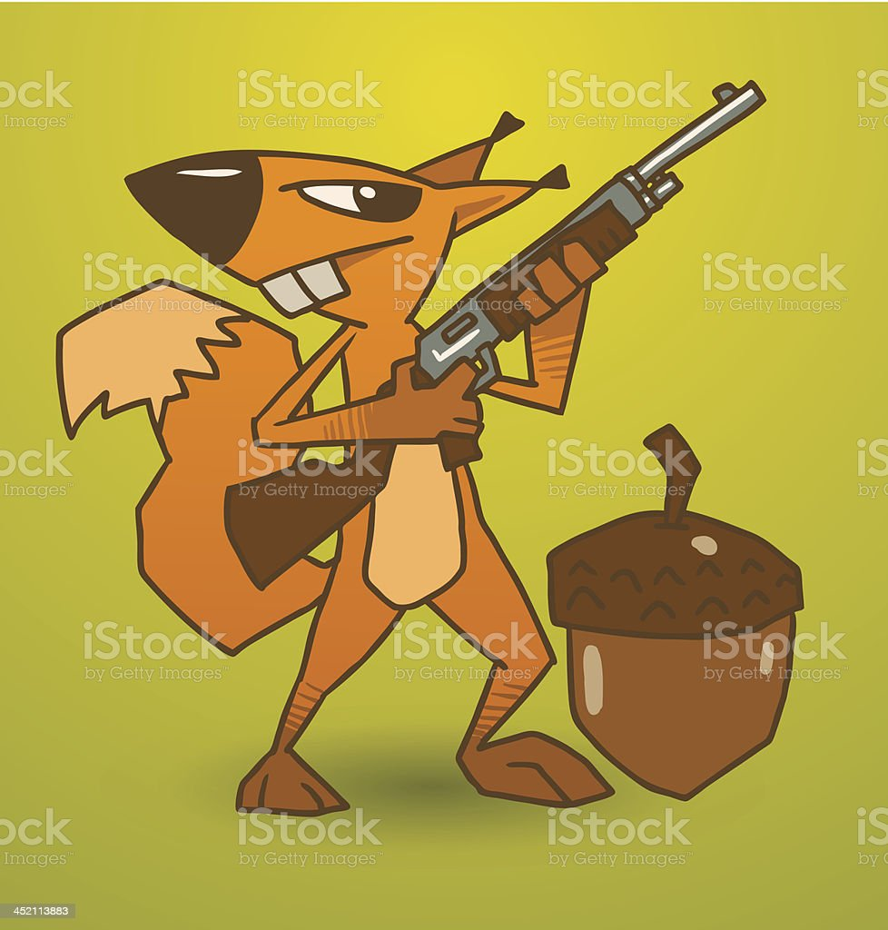Crazy squirrel guards the nut with a gun royalty-free stock vector art