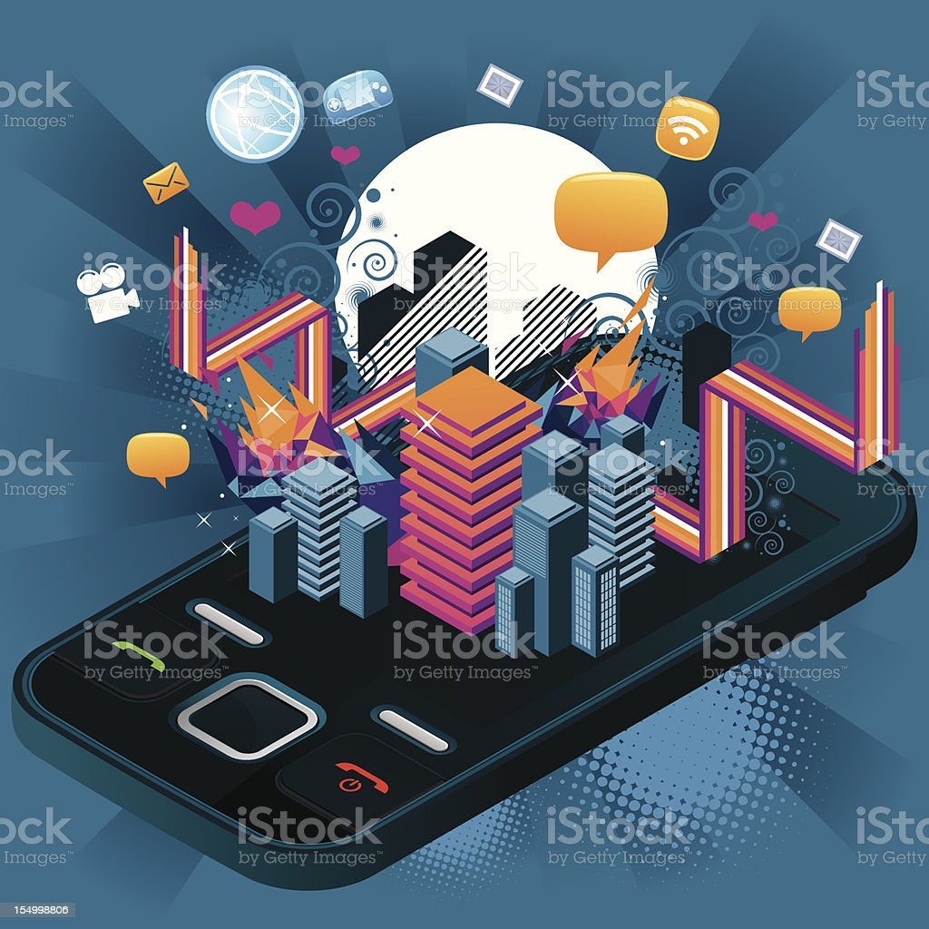 Crazy Telephone with graphics royalty-free stock vector art