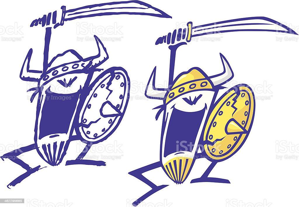 Crazy Vikings royalty-free stock vector art