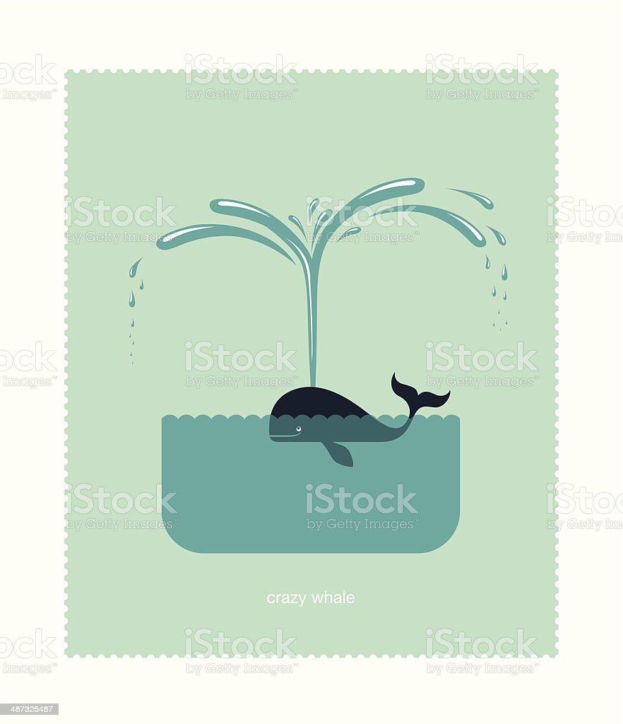 Crazy whale vector art illustration