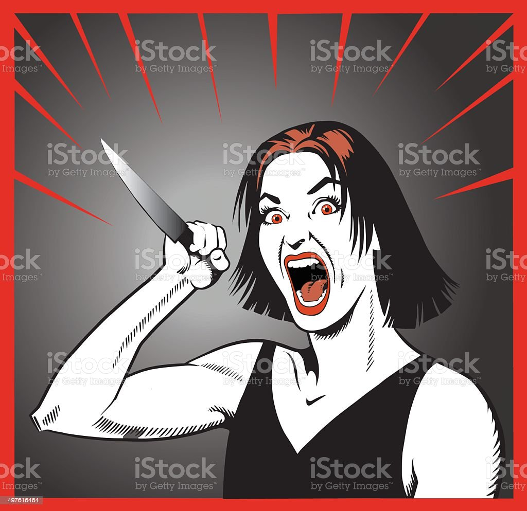 Crazy Woman Threatening With Knife vector art illustration