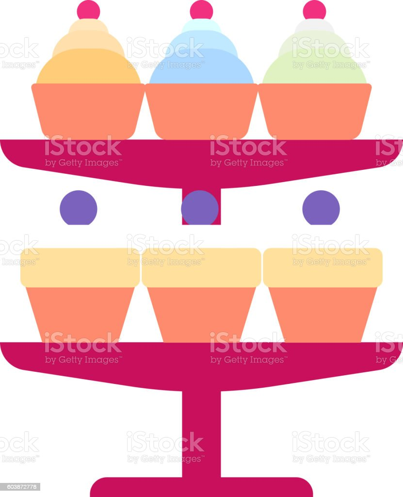 Cream birthday cake vector. vector art illustration