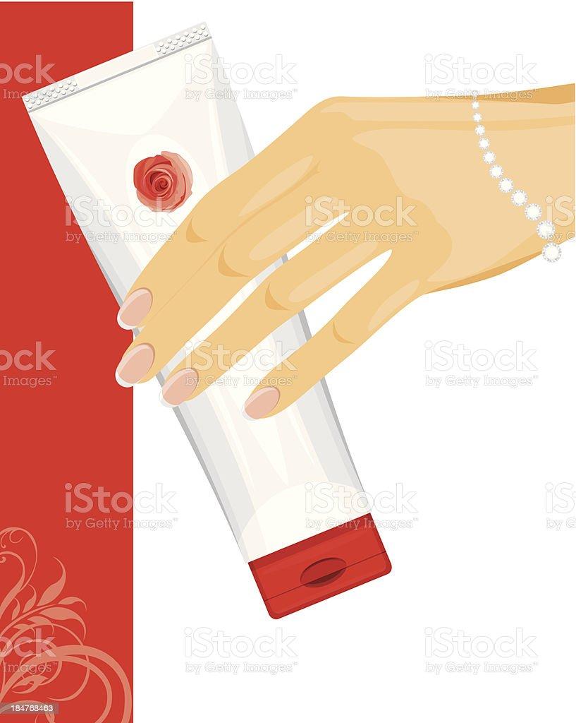 Cream tube in female hand royalty-free stock vector art