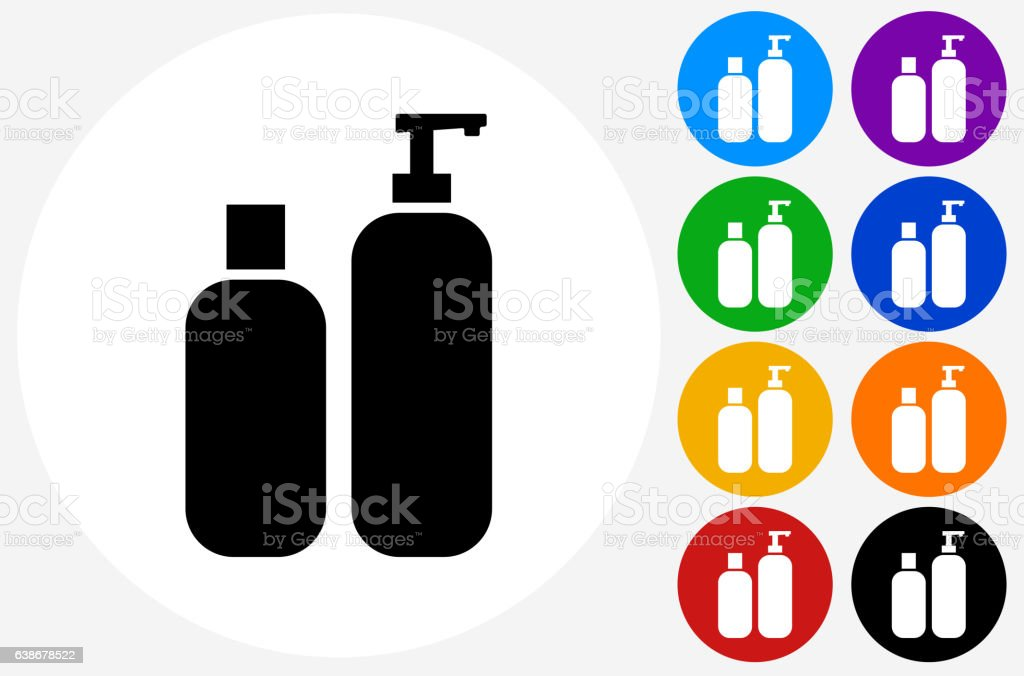 Creams Icon on Flat Color Circle Buttons vector art illustration