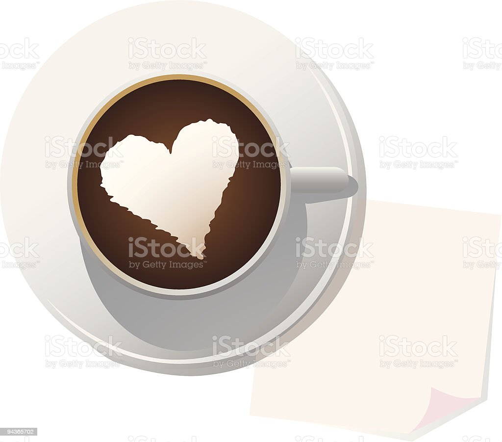creamy coffee with blank stick note vector art illustration