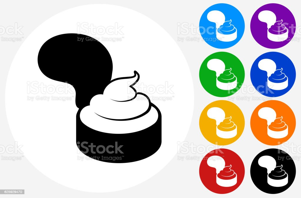Creamy Pastry Icon on Flat Color Circle Buttons vector art illustration