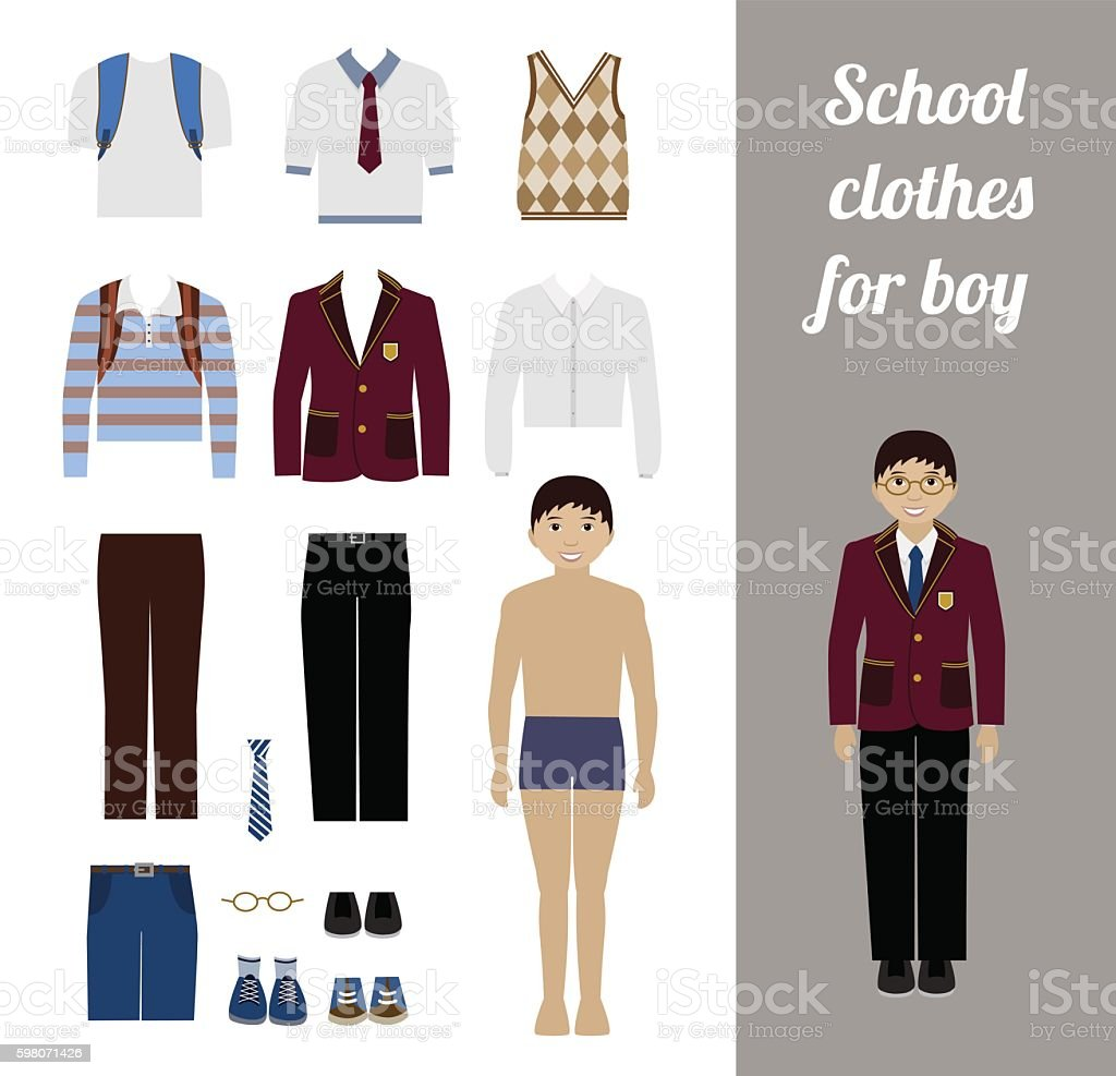 Create school boy kit with different uniforms vector art illustration