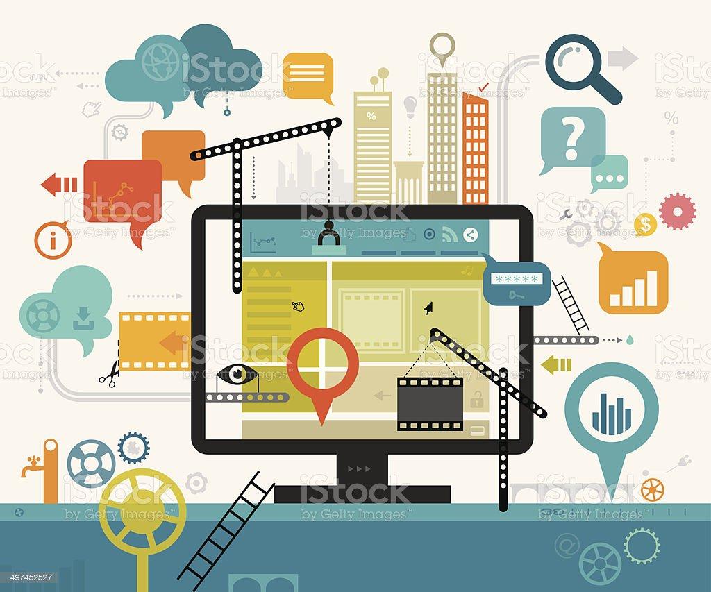 Creating Website vector art illustration