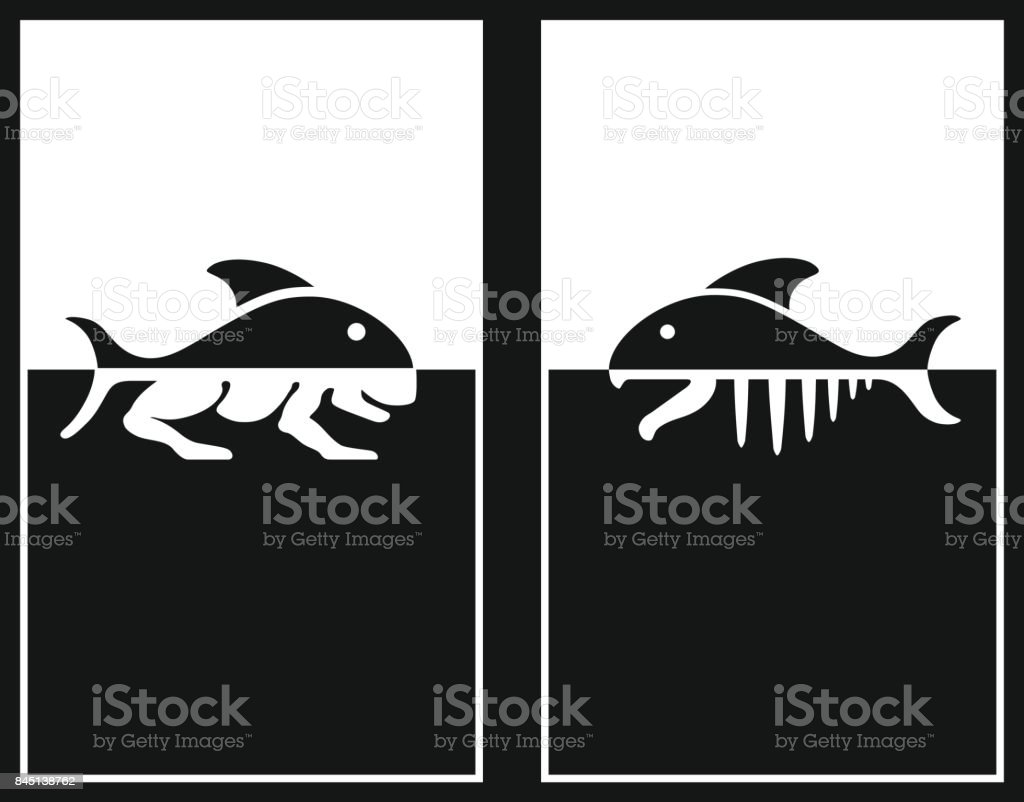Creation Sign. The theory of evolution of Lamarck. DNA concept. Symbol of science, education, medical technologies.  transformation Fish in animals. Vector icons. vector art illustration