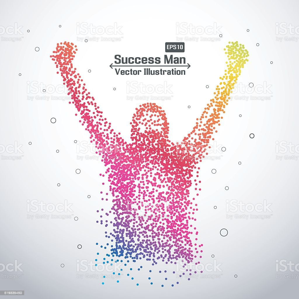 Creative abstract successful man from dot vector art illustration