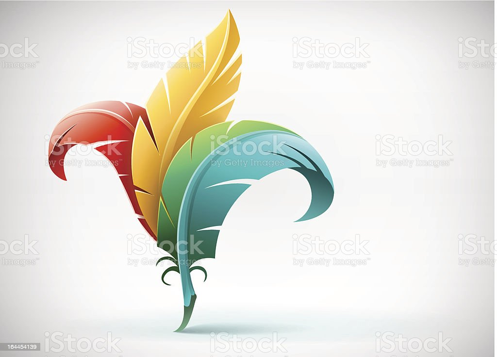 creative art concept with color feathers vector art illustration