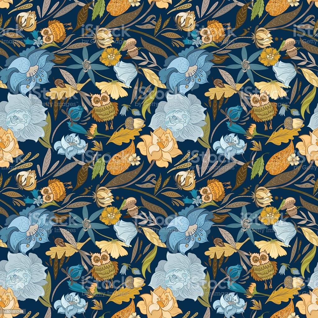 Creative Autumn Blue Vector Pattern vector art illustration