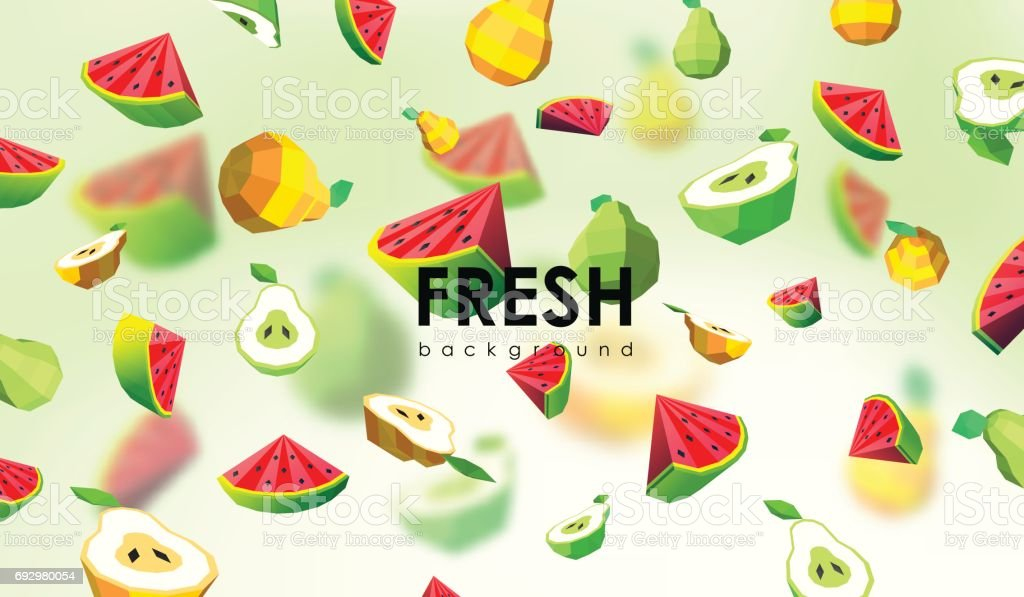 Creative background with low poly fruit. Illustration with polygonal pear and watermelon. vector art illustration