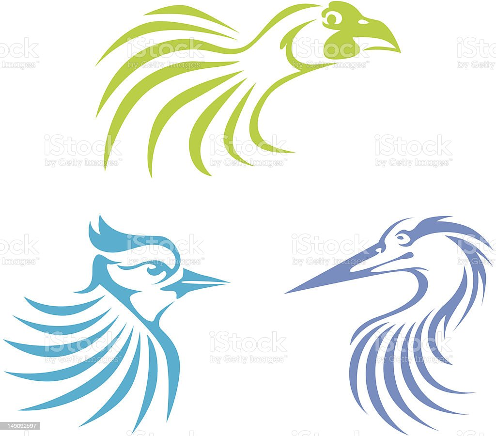 Creative Bird Illustrations vector art illustration