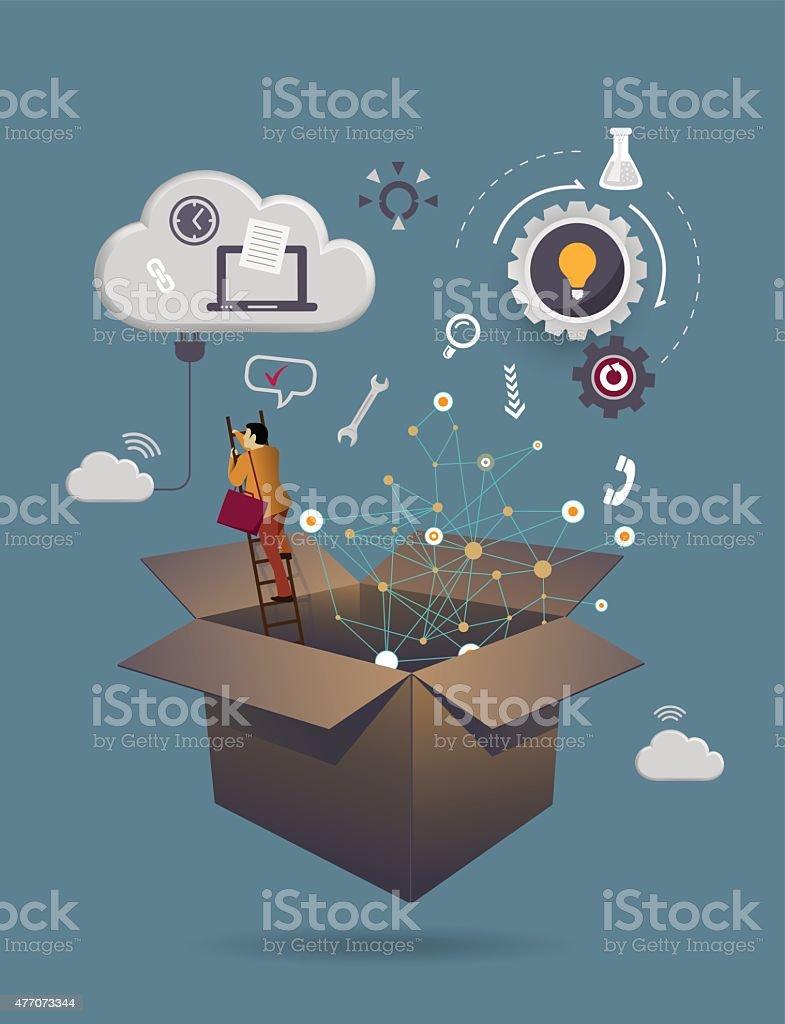 Creative box vector art illustration
