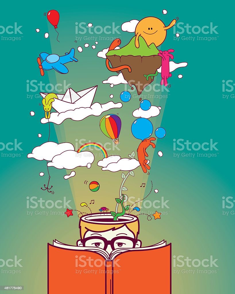 Creative boy reading and dreaming vector art illustration