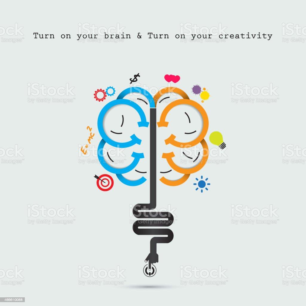 Creative brain abstract vector logo design template. vector art illustration