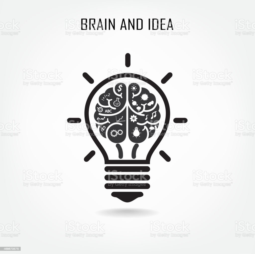 Creative brain and light bulb vector art illustration