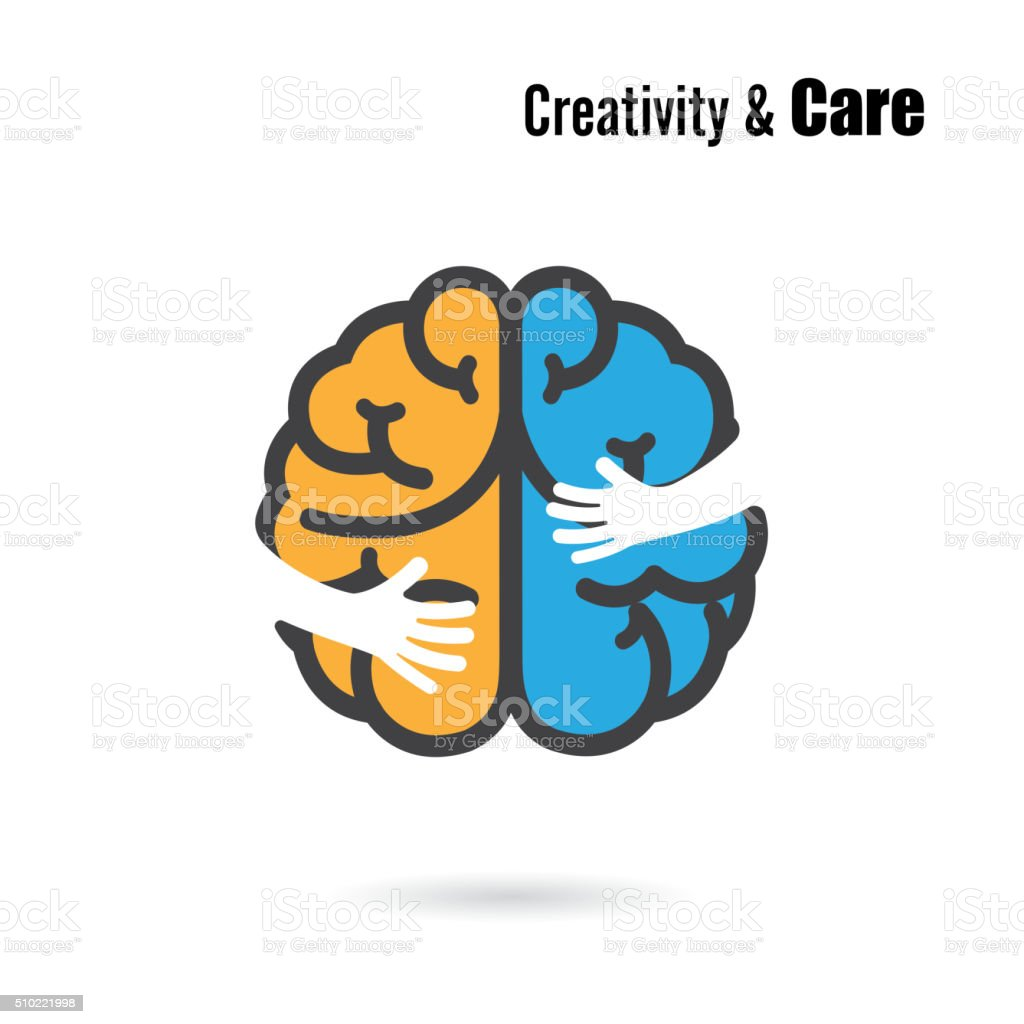 Creative brain icon design with small hand vector art illustration