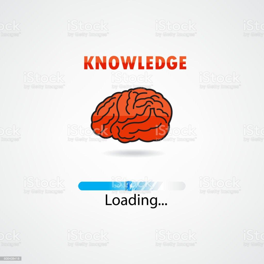 Creative brain loading on background vector art illustration