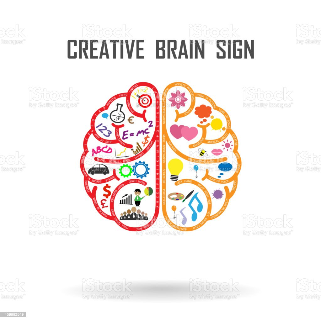 creative brain sign vector art illustration