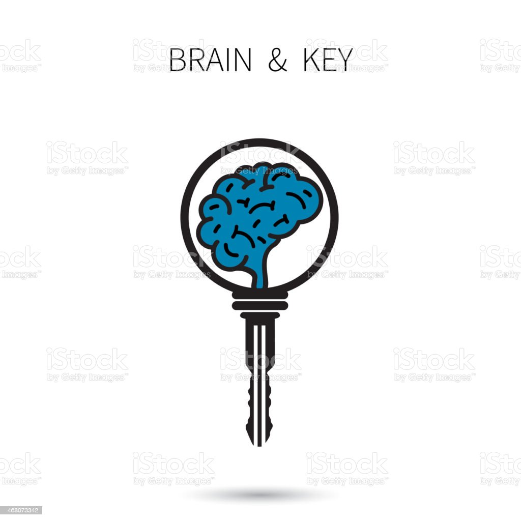 Creative brain sign with key symbol vector art illustration
